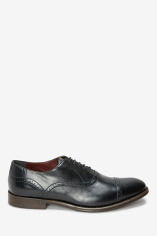 Black Signature Leather Punched Toe Cap Shoes