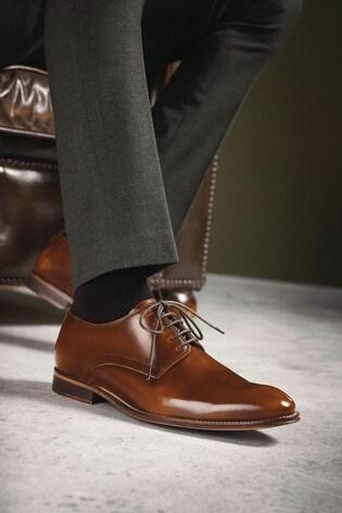 Tan High-Shine Signature Leather Plain Derby Shoes