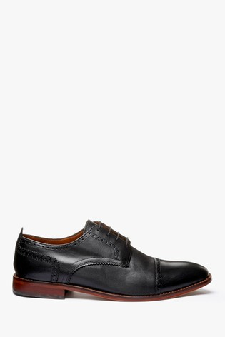 Black Contrast Sole Leather Toe Cap Shoes