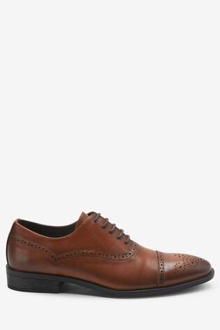 Tan Toe Cap Oxford Shoes