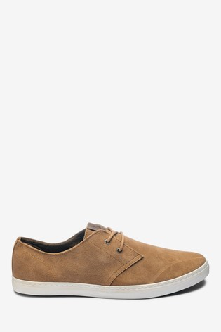 Tan Casual Suede Derby Shoes
