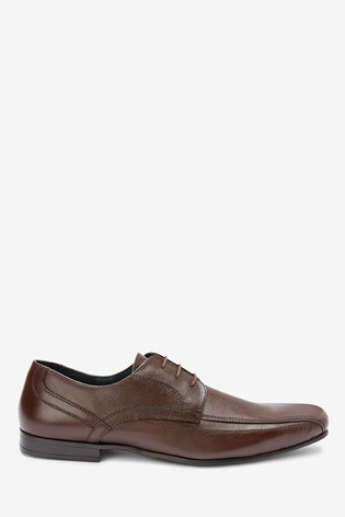 Brown Leather Panel Lace-Up Shoes