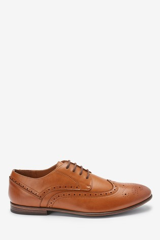Tan Derby Leather Brogue Shoes