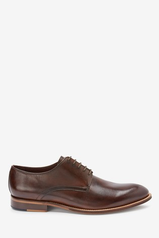 Brown Signature Leather Plain Derby Shoes