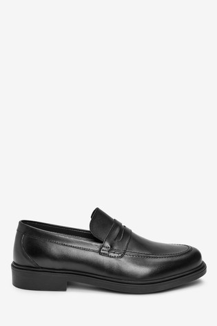 Black Leather Chunky Sole Loafers