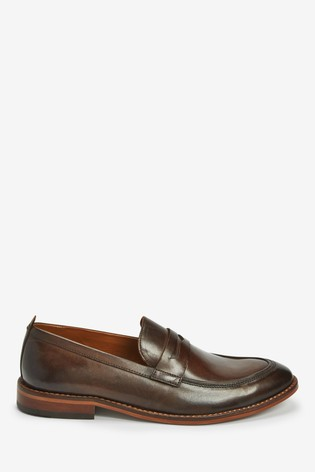 Brown Leather Contrast Loafers
