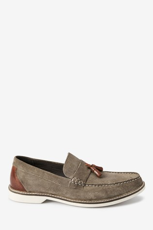 Stone Perforated Tassel Loafers