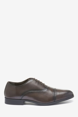 Brown Toe Cap Leather Oxford Shoes