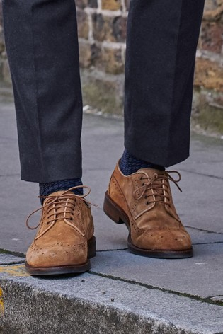 Brown Suede Stained Sole Suede Derby Shoes