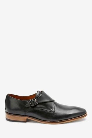 Black Single Monkstrap Leather Shoes