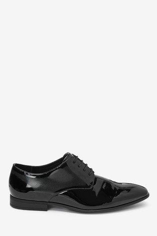 Black Hi-Shine Textured Derby Shoes