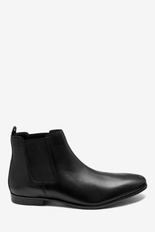 Black Leather Slim Chelsea Boots