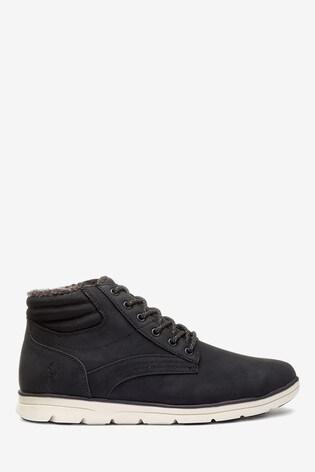 Black Borg Lined Nylon Sport Boots