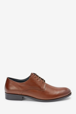 Tan Round Toe Leather Derby Shoes