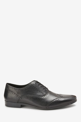Black Punched Wing Cap Leather Oxford Shoe