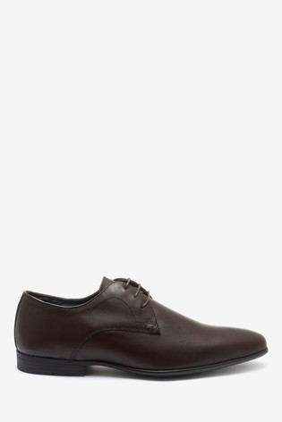 Brown Leather Plain Derby Shoes