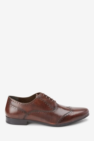 Brown Punched Wing Cap Leather Oxford Shoe