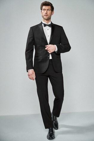 Black Tailored Fit Wool Blend Tuxedo Suit: Jacket
