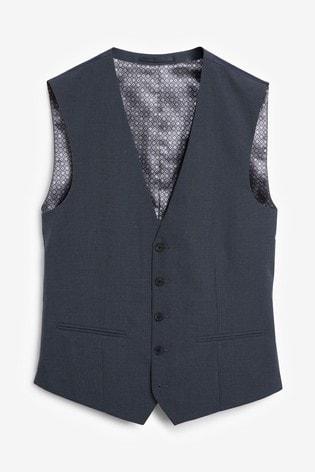 Blue Wool Mix Textured Suit: Waistcoat