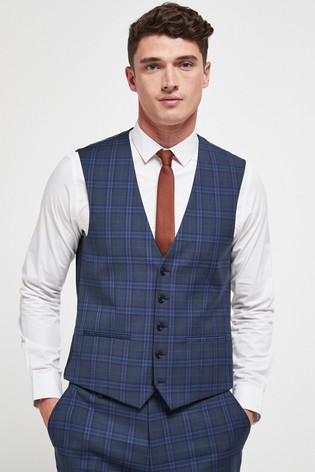Blue/Teal Check Suit: Waistcoat