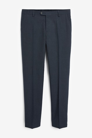 Blue Tailored Fit Wool Mix Textured Suit: Trousers