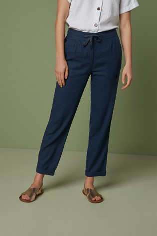 Navy Linen Blend Tapered Trousers