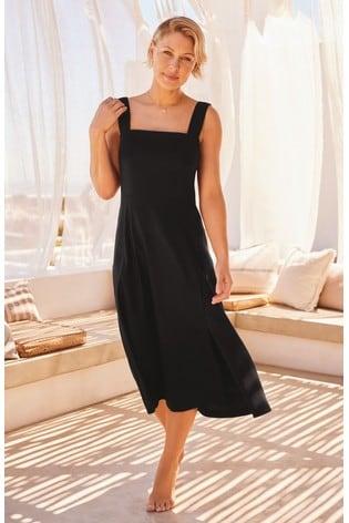 Black Emma Willis Linen Blend Dress