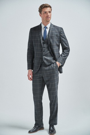 Steel/Aqua Regular Fit Check Suit: Jacket