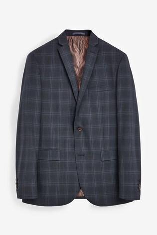 Navy Tailored Fit TG Di Fabio Signature Check Suit: Jacket