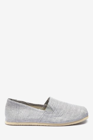 Light Grey Canvas A-Line Slip-Ons