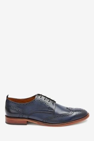 Navy Contrast Sole Leather Brogues