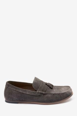 Dark Grey Suede Tassel Loafers