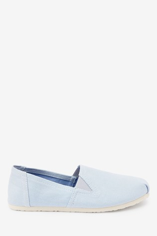 Blue Canvas A-Line Slip-Ons