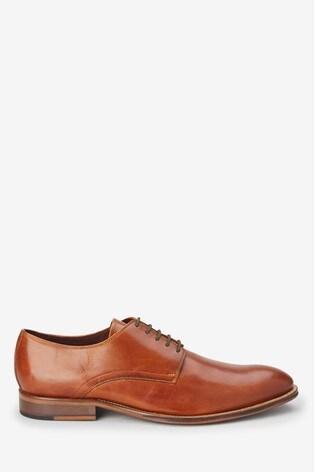 Tan Signature Leather Plain Derby Shoes