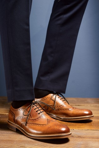 Tan Signature Leather Brogue Shoes