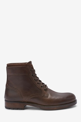 Brown Leather Borg Lined Tall Boots
