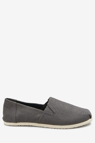 Grey Canvas A-Line Slip-Ons