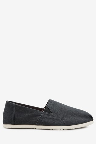 Black Canvas A-Line Slip-Ons