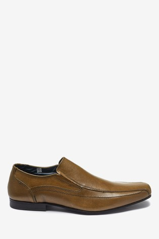 Tan Leather Panel Slip-On Shoes
