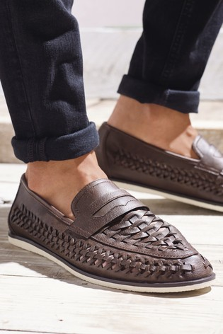 Brown Weave Loafers