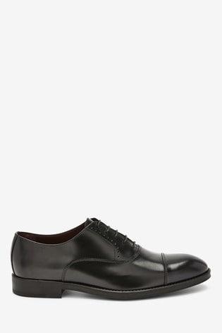 Black Signature Italian Leather Toe Cap Shoes