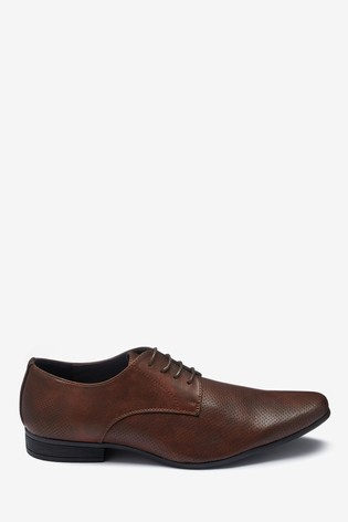 Brown Perforated Derby Shoes