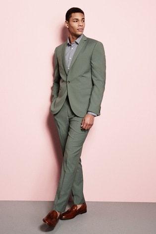 Green Slim Fit Suit: Jacket