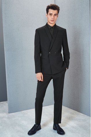 Black Double Breasted Slim Fit Suit: Jacket