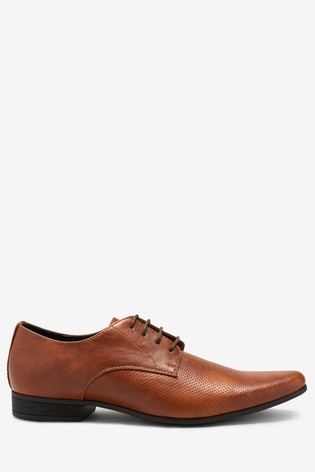 Tan Perforated Derby Shoes