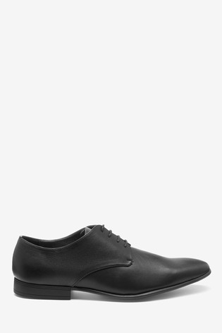 Black Textured Derby Shoes