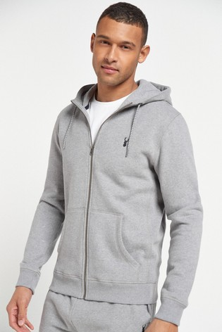 Grey Marl Zip Through Hoody