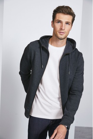 Navy Marl Zip Through Hoody