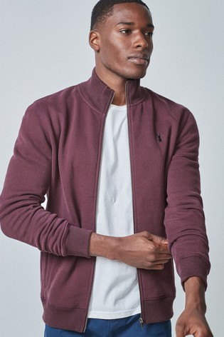 Burgundy Zip Through Funnel Neck Top