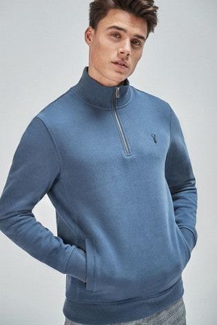 Blue Zip Neck Sweatshirt